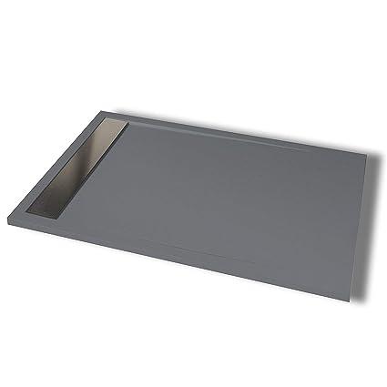 Plato de ducha ARES Extraplano en Resina con textura Pizarra (100 x 70 cm, Gris Grafito)