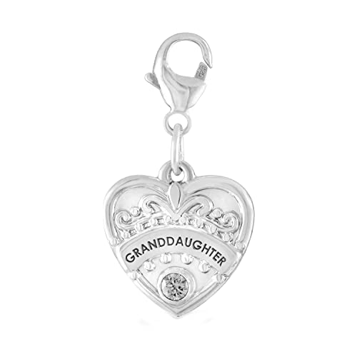 0f630af57 Esty & Me Granddaughter Heart Charm with Simulated Birthstone, in Sterling  Silver - April