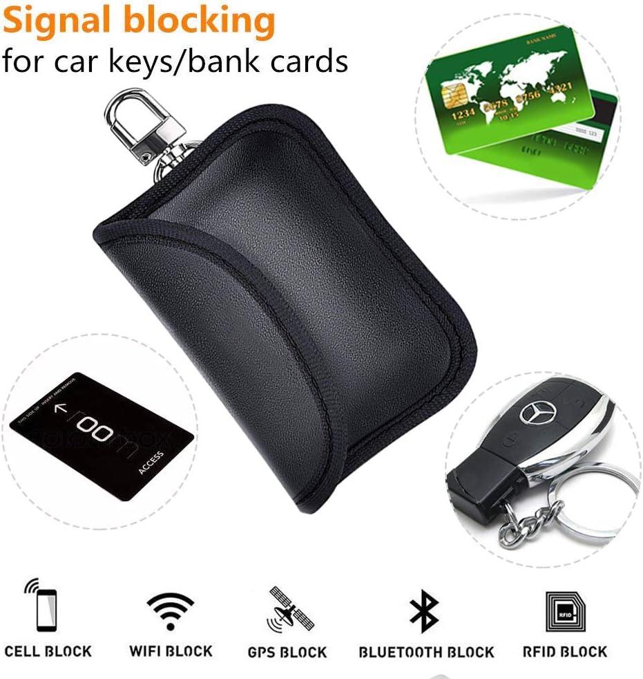 Poche Antivol en PU Bloque Signal RFID//NFC//WiFi//GSM//Bluetooth Etmury /Étui de S/écurit/é pour Clef de Voiture,2PCS Sac Cage de Faraday Protection pour Cl/é sans Contact Keyless Go