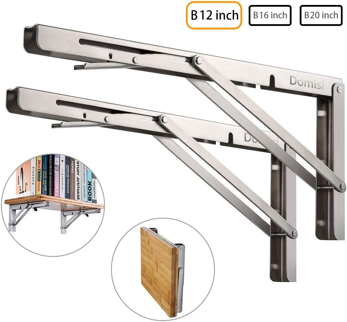 Folding Shelf Brackets Specially Made 2PCS, Heavy Duty Stainless Steel L-Shaped Bracket, DIY Shelves for Table Desk Bench Wall Mounted TV Bracket Max Load 250lb Space Saving (B 12 Inch)