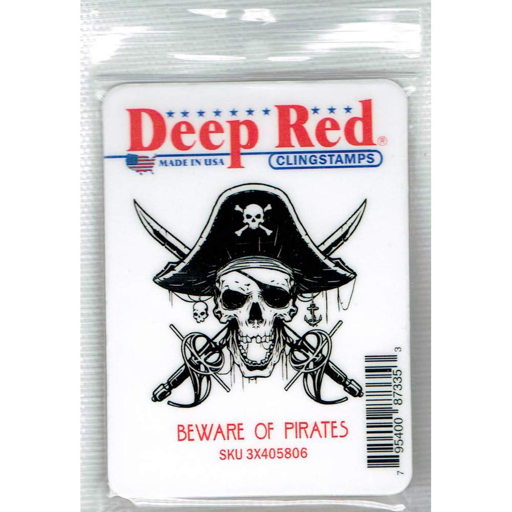 Deep Red Beware of Pirates Rubber Cling Stamp