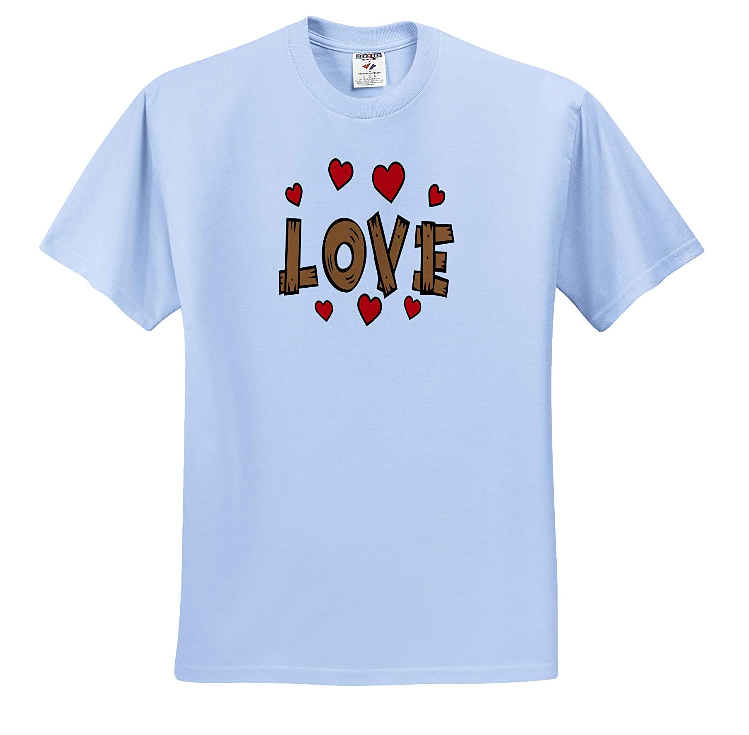 3dramm Holidays and Typography 3dRose AmansMall Winter Wood Image Love and Red Hearts Valentine Typography T-Shirts