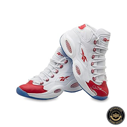 7470192bdc52 Allen Iverson Signed Reebok Question Mid Shoes with Red Toe - 76ers -  Autographed NBA Sneakers