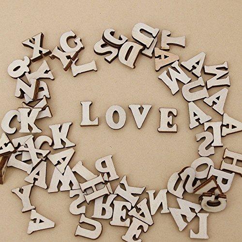 200Pcs Mixed A-Z Alphabet Wood Letter Wooden Number Sticker Craft 3D Scrapbooking Decor (Alphabet)