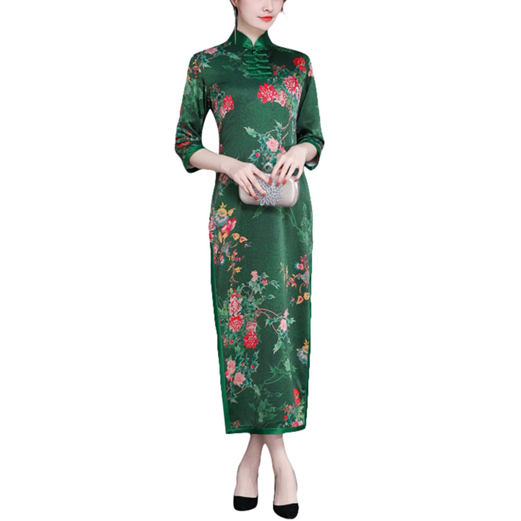 HÖTER Women's Slim Printed High Split Traditional Vintage 3/4 Sleeve Plus Size Qipao Cheongsam Dress