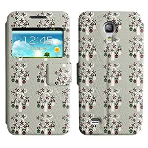Be-Star Colorful Printed Design Slim PU Leather View Window Stand Flip Cover Case For Samsung Galaxy S4 mini / i9190 / i9192 ( Christmas Decors ) Kimberly Kurzendoerfer