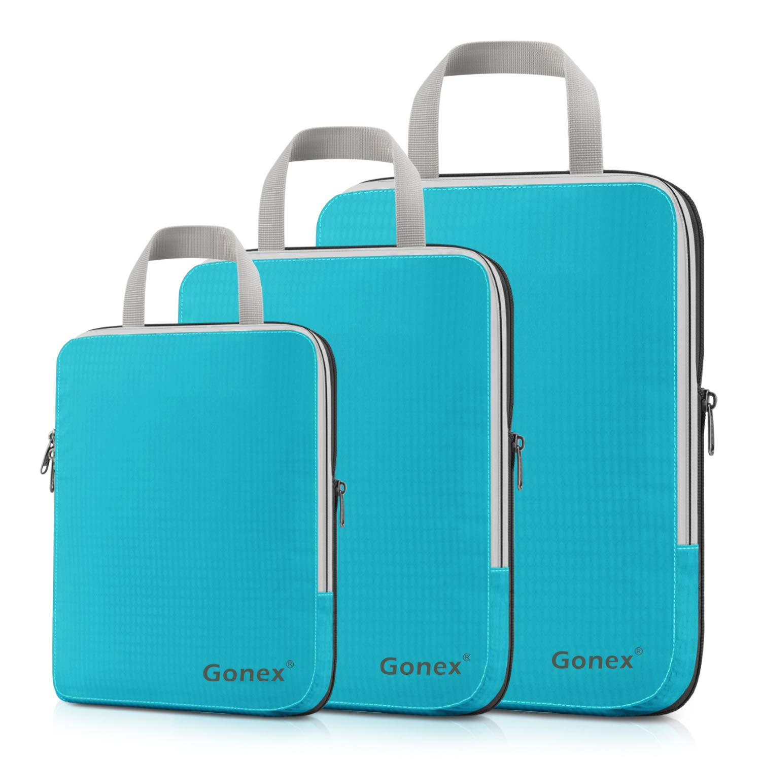 Compression Packing Cubes, Gonex Travel Organizers Upgraded 3PCS L+M+S(Blue) by Gonex