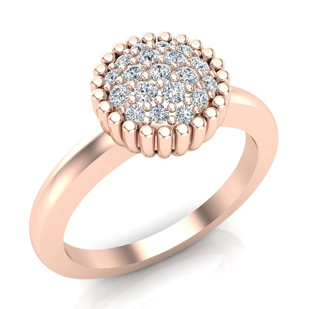 0.21 ct tw Vintage Diamond Cluster Fashion Ring Stackable Bands 18K Rose Gold (Ring Size 7.5)
