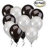 NUOLUX Ballons à latex, ballons noirs et argentés pour fête d'anniversaire de mariage, 50pcs