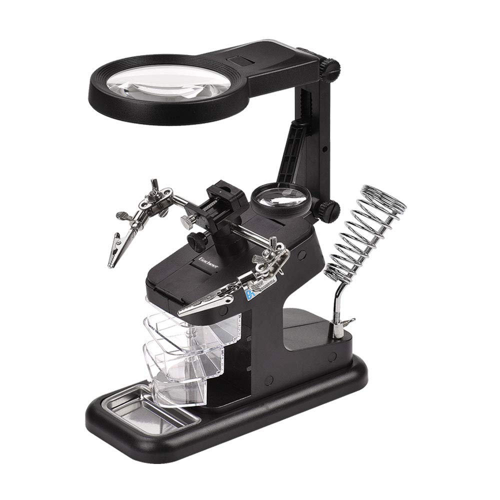 Gocheer 10 LED Helping Hands Magnifier Soldering Station-3x/4.5x/25x Hands Free Magnifying Glass,Welding Aid Table,with Holder and Alligator Clips,for,Assembly,Repair,Modeling,Hobbies and Crafts