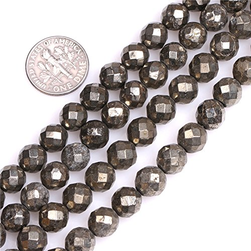 (Pyrite Beads for Jewelry Making Natural Semi Precious Gemstone 8mm Round Faceted Silver Gray Strand 15