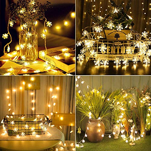 Christmas Indoor Lights,KALUOLA 40 LED 5M Snowflake Fairy String Lights,Outdoor String Lights,Battery Operated Waterproof for Christmas Halloween Party Home Bedroom Decoration(Warm),3 Modes,Best Gift