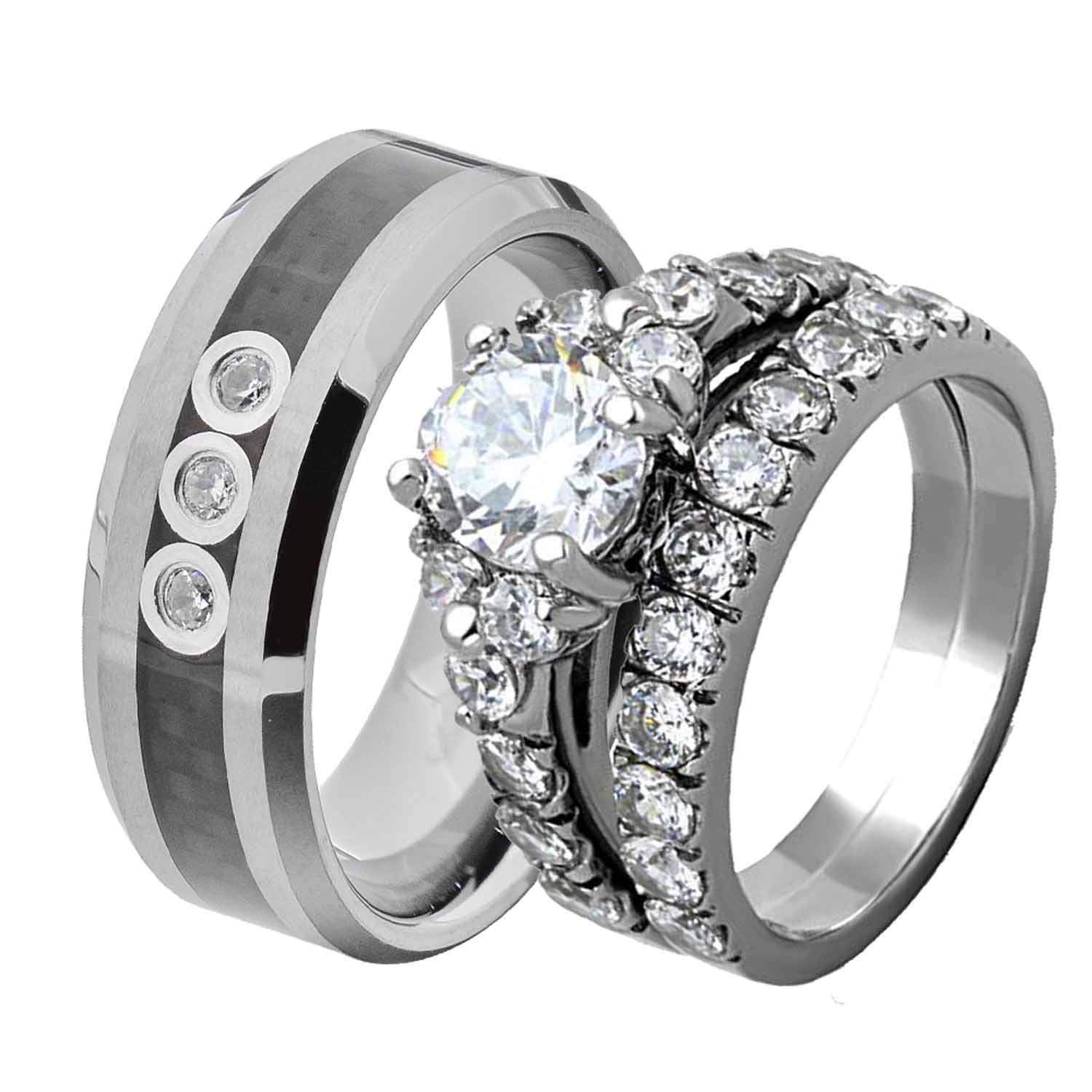 Flamereflection His And Hers Wedding Ring Sets Couple Bridal Women Stainless Steel Round Cubic Zirconia Aaa Cz 2 Pcs Men Tungsten Carbide: Tungsten Wedding Band Sets For Women At Websimilar.org
