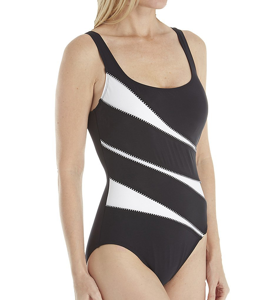 Miraclesuit Women's Spectra Helix One Piece Underwire Swimsuit Black/White 10