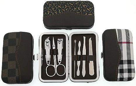 Cortauñas Manicura Set de pedicura Acero inoxidable Pinzas Afilados Tijeras Con estuche de viaje 7 en 1-B 5x8x1cm(2x3x0): Amazon.es: Belleza