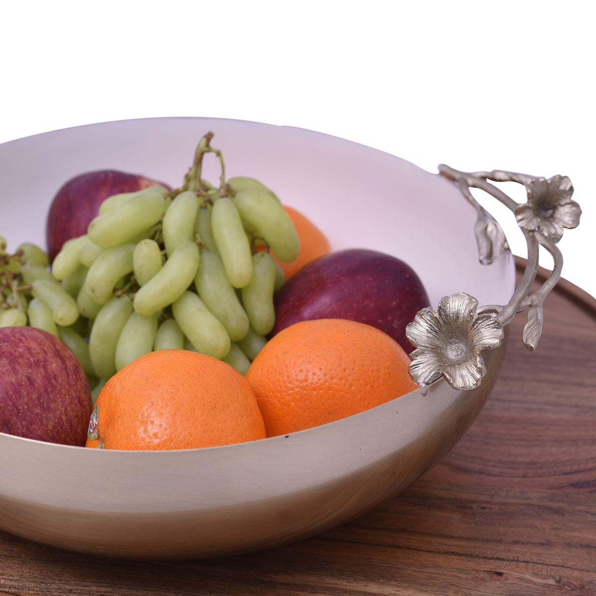 Decozen Large Serving Bowls-Salad Bowl-for Fruits Snacks Nuts Side Dishes-Table D/écor Bowl-Rosemary Flower Shaped Handles-Stainless Steel Fruit Bowl 14 x 12x 5 Inches
