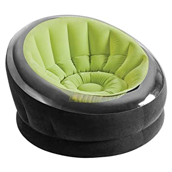 Intex - Sillón hinchable Empire 112 x 109 x 69 cm, verde y negro (75853)