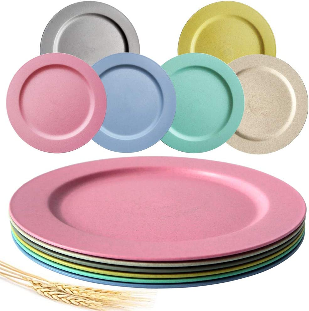 Greenandlife 10inch/6pcs Dishwasher & Microwave Safe Wheat Straw Plates - Lightweight & Unbreakable,Non-toxin, BPA free and Healthy for Kids Children Toddler & Adult