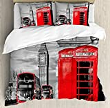 Ambesonne London Duvet Cover Set Queen Size, London Telephone Booth in The Street Traditional Local Cultural Icon England UK Retro Theme, A Decorative 3 Piece Bedding Set with 2 Pillow Shams, Red Grey