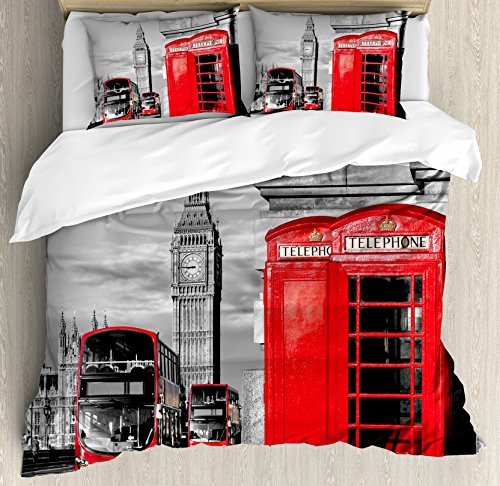 London Duvet Cover Set Queen Size by Ambesonne, London Telephone Booth in the Street Traditional Local Cultural Icon England UK Retro, Decorative 3 Piece Bedding Set with 2 Pillow Shams, Red Grey