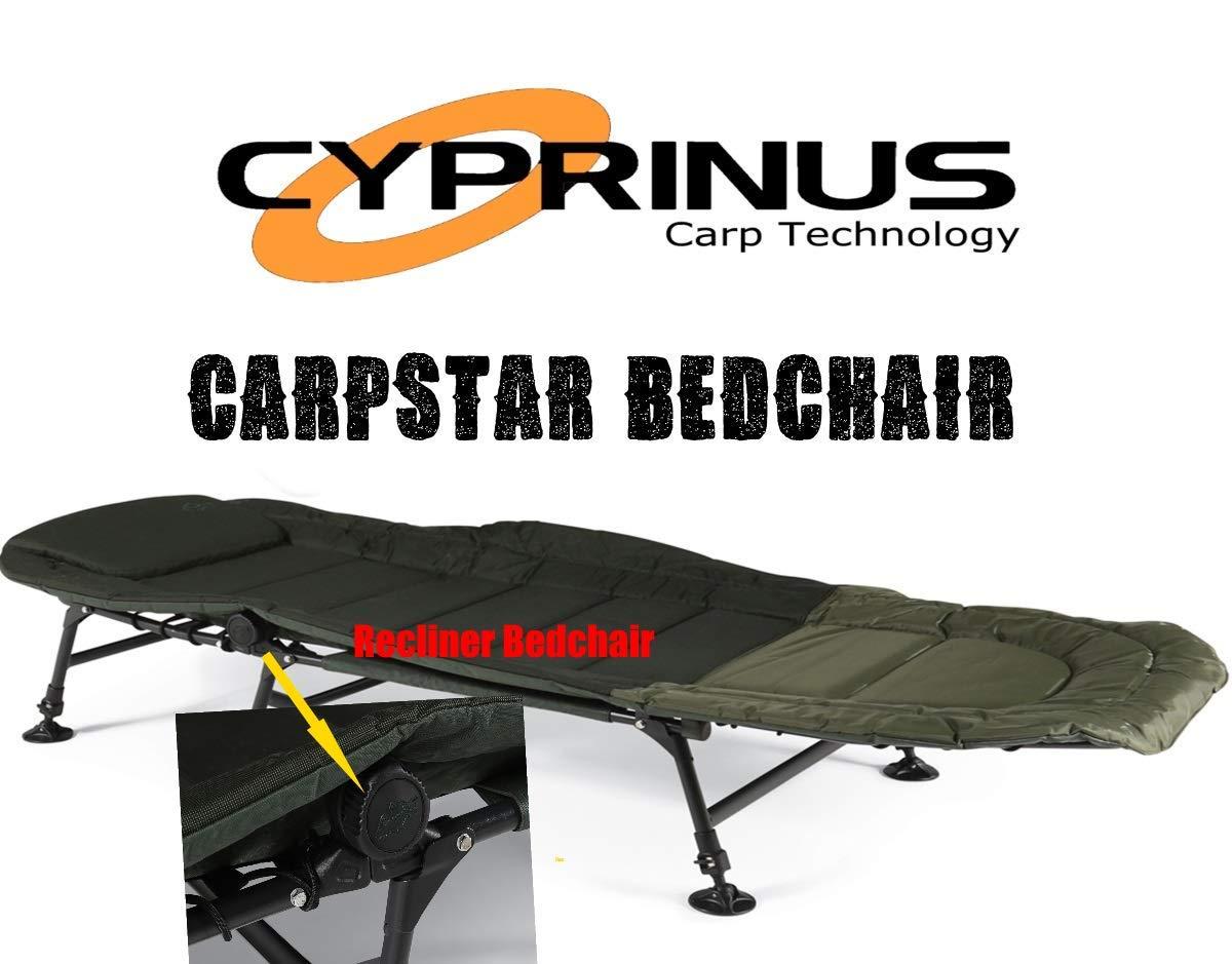 Carpstar Cyprinus Liegestuhl mit 6 Beinen, für Karpfenangeln oder Campen, zum Schlafen über dem Bett oder zum Hochbetten