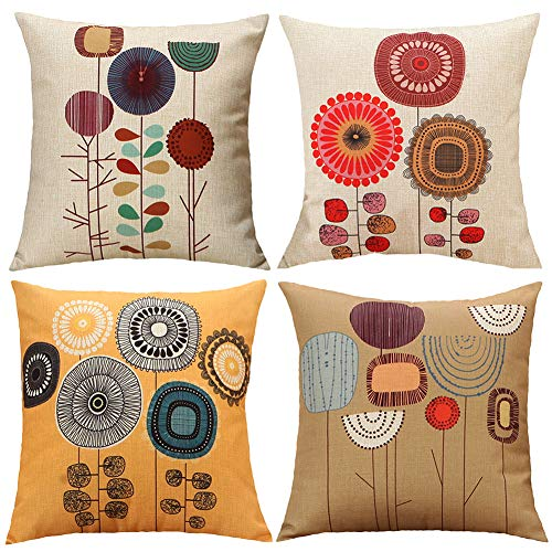 (TongXi Cartoon Flowers Pattern Cushion Covers Decorative Throw Pillows for Sofa 18x18 inches Pack of 4)