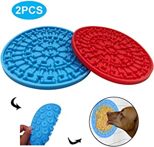 PeSandy Dog Lick Pad, Puzzle Lick Mat with 37 Super Suction for Dogs Bathing Grooming, Durable Silicone Dog Slow Feeder Distraction Device Makes Shower Easy and Funny Just Spreading Peanut
