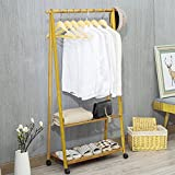 Cyanbamboo Bamboo Garment Rack Bamboo Clothing Drying Rack with 2 Tiers of Storage Shelf and 4 Wheels 2 Hooks (L:23.62 W:12.6 H:57 Inch)