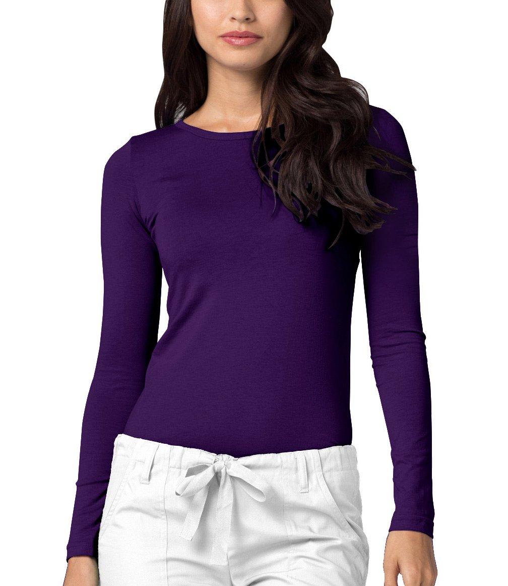Adar Womens Comfort Long Sleeve T-Shirt Underscrub Tee - 2900 - Purple - M