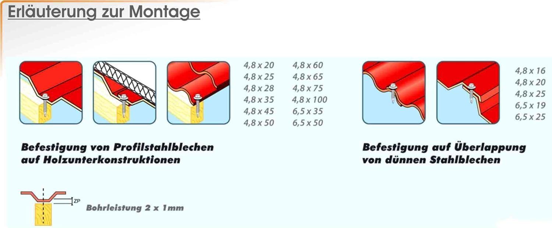 100Stk Bohrschrauben//Blechschrauben RAL7024 /Ø 4,8x60 mit 14mm Dichtscheibe