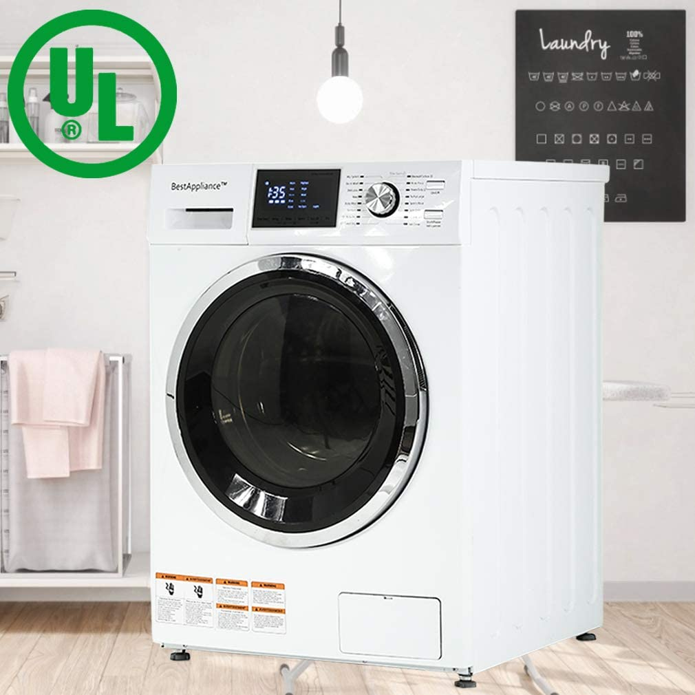 B07VK8N1XK BestAppliance Washer Dryer Combo Combination Washing Machine Turbo Wash 2.7Cubic. ft. Capacity Compact Laundry 24 Inch Electric Dryer and Washer Stainless Steel Drum with Four Transport Bolts,White 61QvmX2B11WL.SL1010_