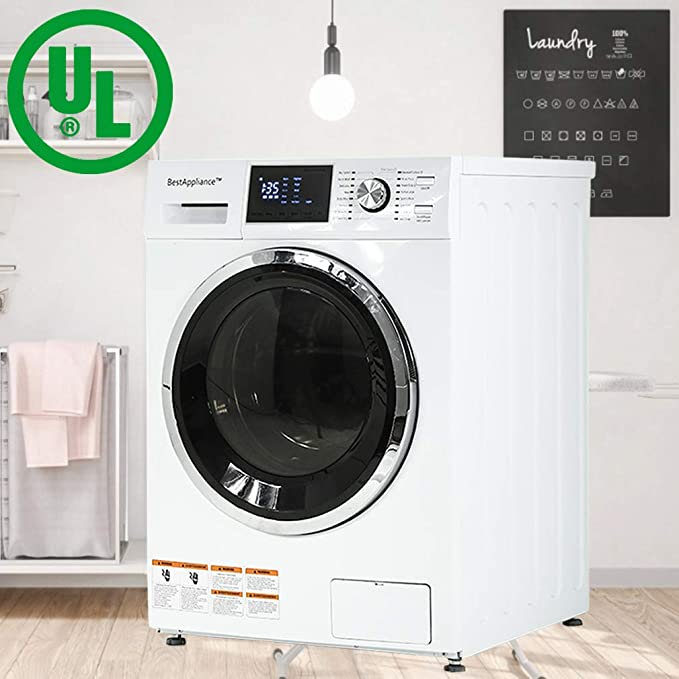 BestAppliance Washer Dryer Combo Combination Washing Machine Turbo Wash 2.7Cubic. ft. Capacity Compact Laundry 24 Inch Electric Dryer and Washer Stainless Steel Drum with Four Transport Bolts,White Best All-in-One Washer Dryer Combo Machines