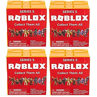 Roblox Series 5 Yellow Orange Mystery Blind Figure Sealed Pack Lot Bundle of 4 Cubes: Toys & Games