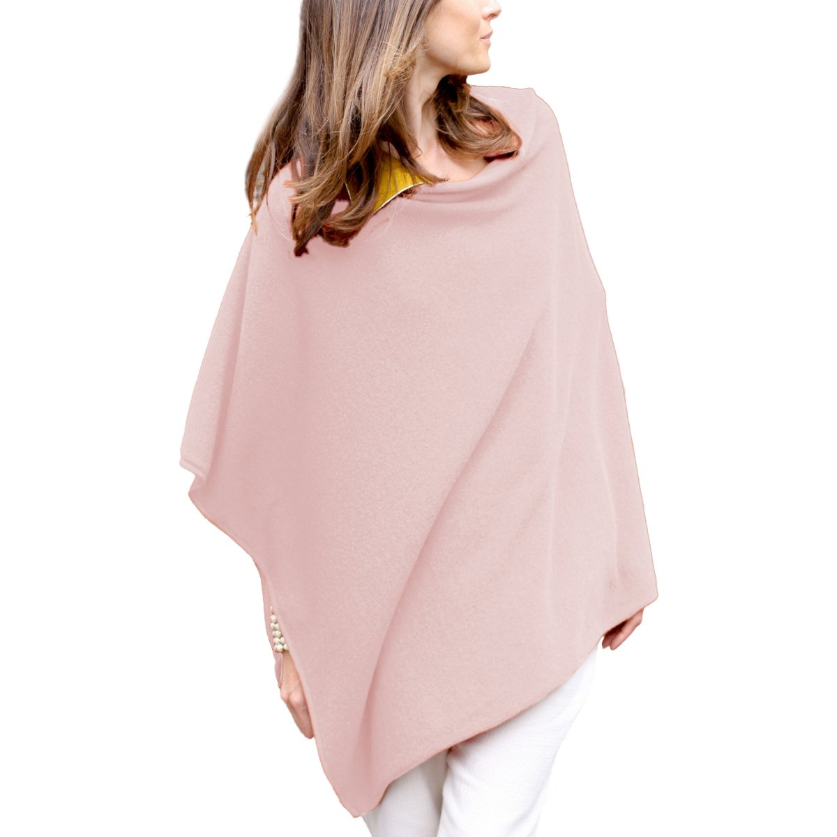 Parisbonbon Women's 100% Cashmere Crew Neck Draped Poncho Color Doll Pink Size L by Parisbonbon