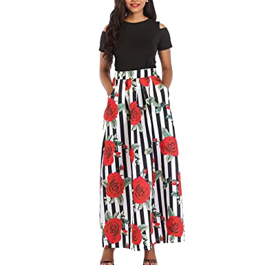 935d8e0df81a Raylans Women s African Floral Print Two Pieces A Line Long Skirt Maxi Dress  M405  S