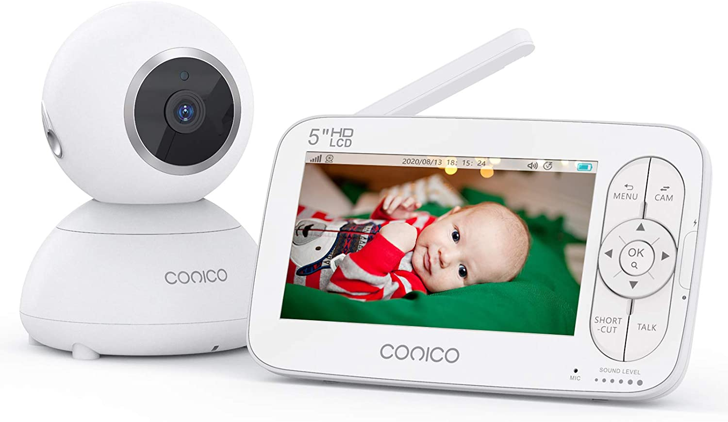 "Baby Monitor, Conico Video Baby Monitor with Camera, No WiFi, 5"" HD LCD Large Screen Display 960ft Range Rechargeable Battery Two Way Audio 2X Zoom Invisible IR Night Vision Temperature Monitoring"