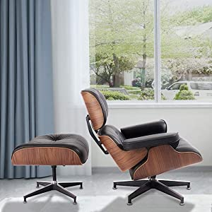 Mid Century Comfortable Classic Design Lounge Chair with ottoman,Walnut Frame with Top Grain Leather,Strong Stable Base Support,Suits for Living Room and Office Lounge-Light Walnut Frame+Black Leather