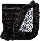 BESSIE AND BARNIE Versailles Blue/Black Puma Luxury Ultra Plush Faux Fur Pet, Dog, Cat, Puppy Super Soft Reversible Blanket (Multiple Sizes)