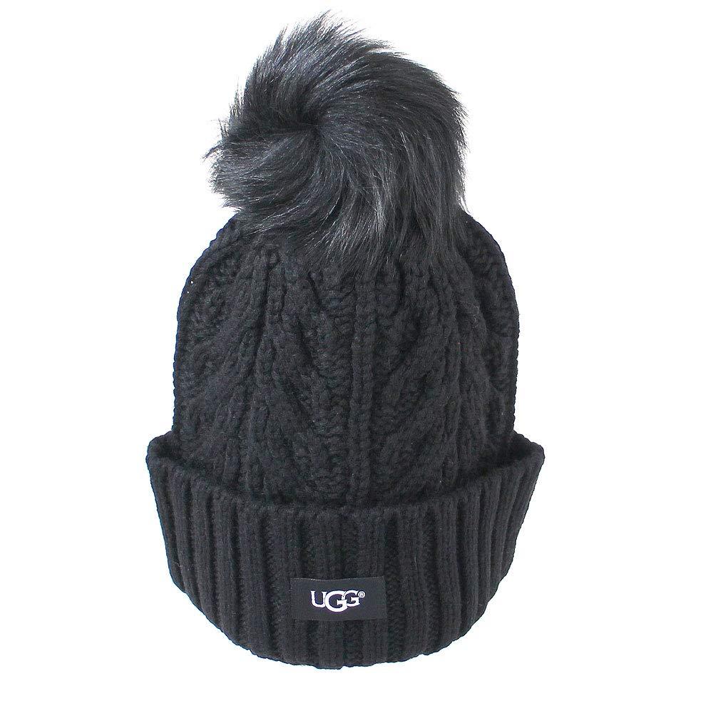 UGG Women's Cable Knit Pom Beanie Black One Size