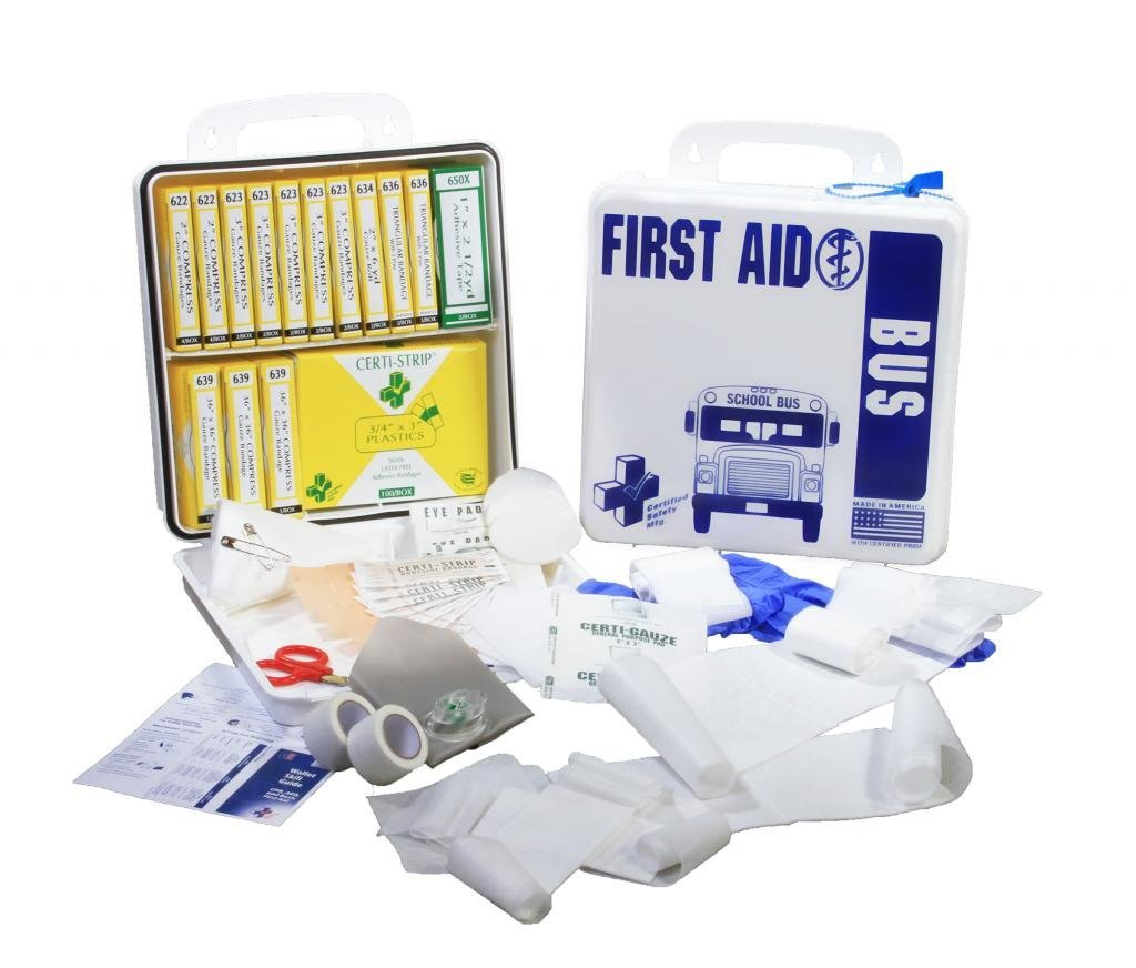 Certified Safety S203-099 24PW National Standard School Bus First Aid Kit, Poly White