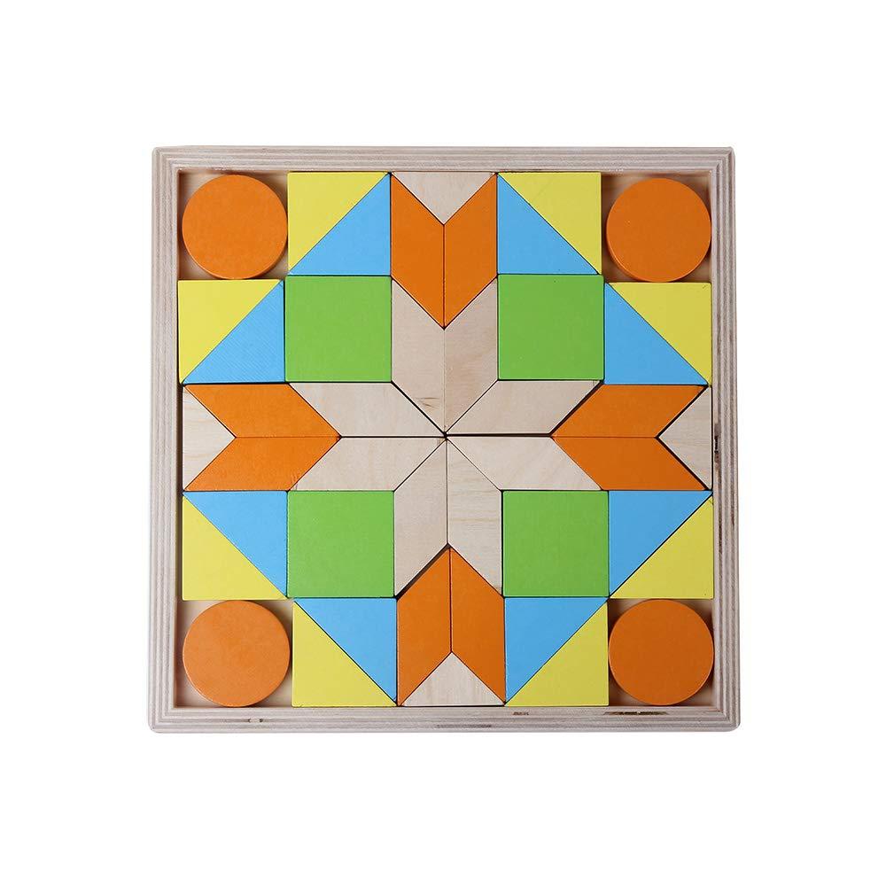 B& Julian Holz Legespiel Puzzle Plattenmosaik mit Geometrische Formen in Box 3D Effekt für Kinder Knobelspiele (40 Teile) Zaprori GmbH Fantasy-Charaktere