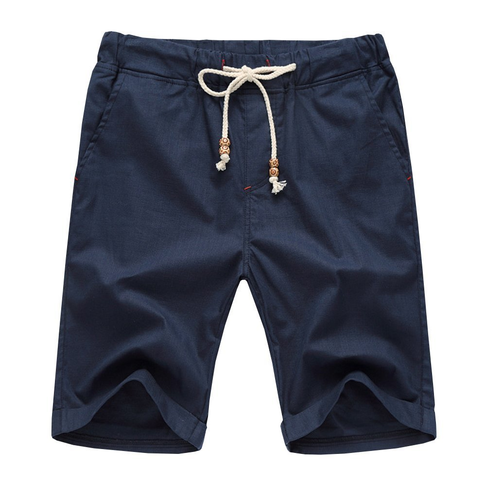 Aiyino Men's Linen Casual Classic Fit Short Large Navy