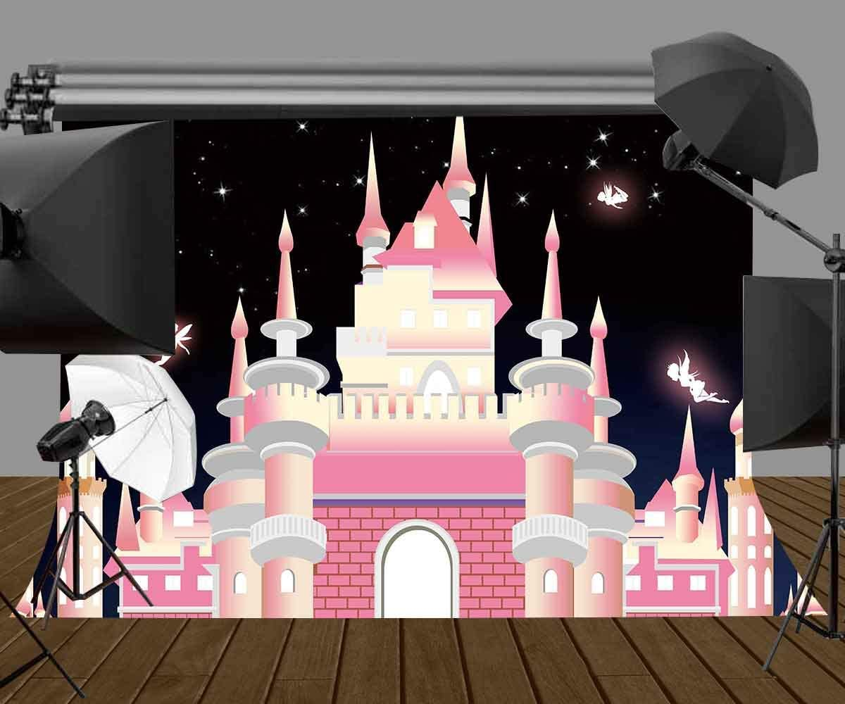 SZZWY 7x5ft Cartoon Castle Backdrop for Photography Baby Girls Birthday Themed Party Photography Backdrop Photo Video Studio Props LYZY0275