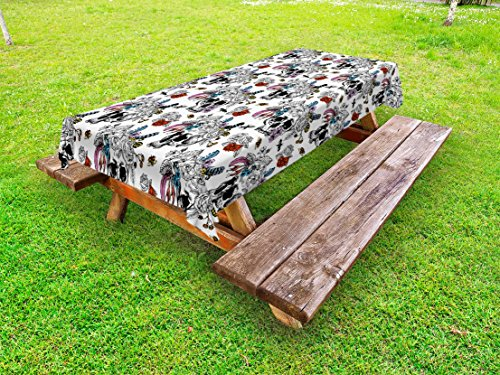 Ambesonne Gothic Outdoor Tablecloth, Day of The Dead Inspired Human Skulls Design with Colorful Flowers Mexican Tradition, Decorative Washable Picnic Table Cloth, 58 X 84 inches, Multicolor by Ambesonne