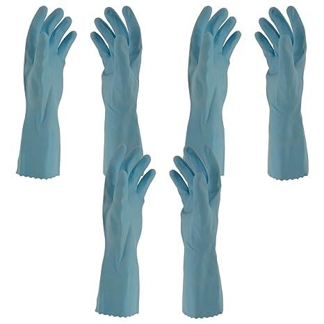 Primeway Rubberex Flocklined Rubber Hand Gloves, Medium, Set of 3 Pairs