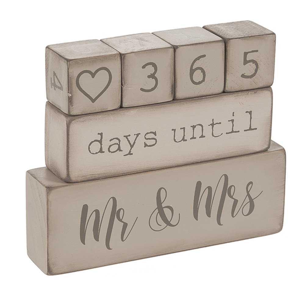Ganz 6 Piece Wooden Block Wedding Day Countdown Calendar