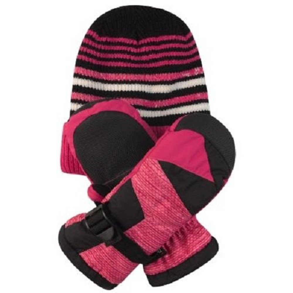 Free Country Kids' Hat and Mitten Set - Girl's Rose Cold Weather Set ~ L/XL