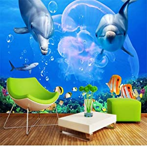 hwhz Wallpapers Custom 3D Wallpaper Living Room Dolphin Great White Shark Underwater World Photo Wall Paper Bedroom Kitchen -200X140Cm