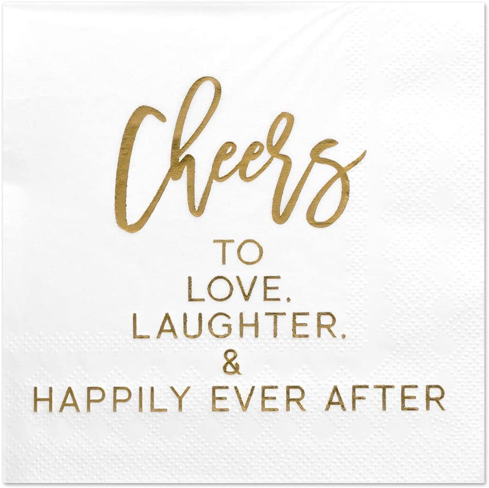 Andaz Press Cheers to Love Laughter Happily Ever After, Funny Quotes Cocktail Napkins, Gold Foil, Bulk 50-Pack Count 3-Ply Disposable Fun Beverage Napkins for Holiday, Christmas, New Year's Eve Bar