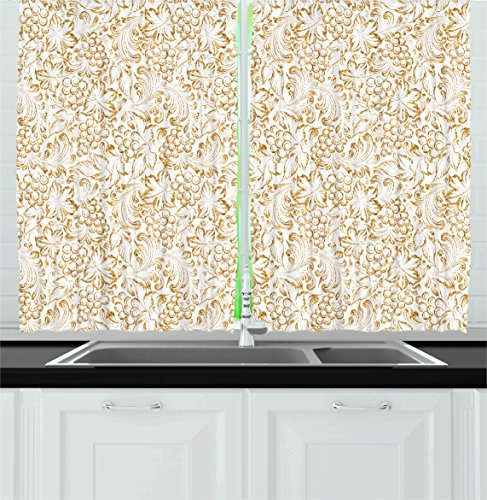 Ambesonne Kitchen Decor Collection, Golden Grape Vine Classic Victorian Pattern Invitation Background Wine Dine Illustration, Window Treatments for Kitchen Curtains 2 Panels, 55X39 Inches, Gold - Vine Illustration Grape